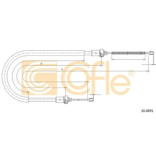 Cablu frana mana Dacia Logan (Ls); Renault Logan 1 (Ls) Cofle 106891, parte montare : stanga, dreapta, spate