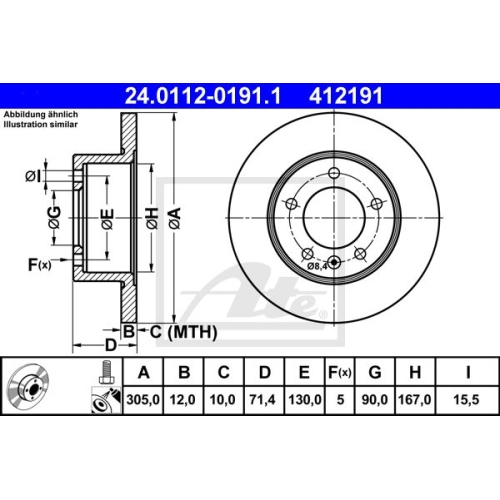 Disc frana Ate 24011201911, parte montare : punte spate