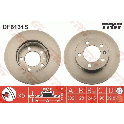 Disc frana Trw DF6131S, parte montare : punte fata
