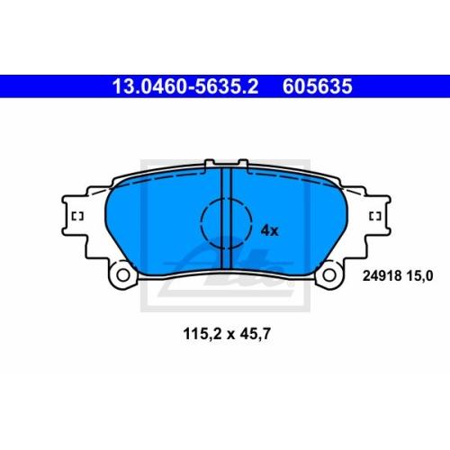 Set placute frana Ate 13046056352, parte montare : punte spate