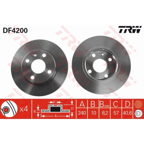 Disc frana Trw DF4200, parte montare : punte spate