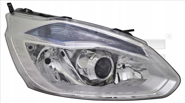 Far Ford Transit/Tourneo Custom, 03.2013-05.2016, fata, Dreapta, cu lumini de curbe; lense; cu daytime running light; H1+H15+H7; electric; silver; cu motor;