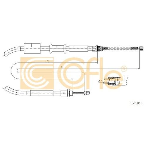 Cablu frana mana Fiat Punto (176) Cofle 1281P1, parte montare : dreapta, spate