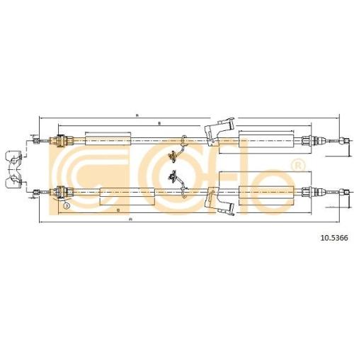 Cablu frana mana Ford C-Max (Dm2), Focus C-Max, Focus 2 (Da) Cofle 105366, parte montare : spate