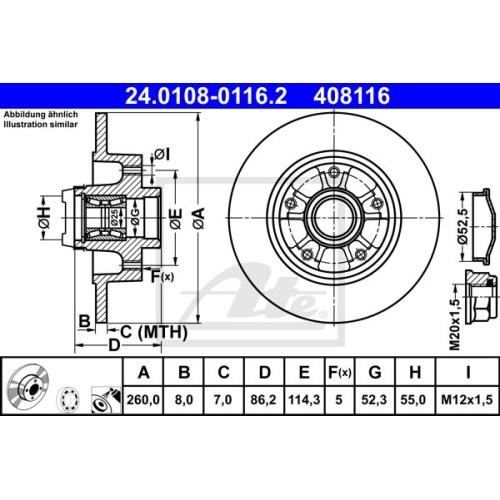 Disc frana Ate 24010801162, parte montare : punte spate