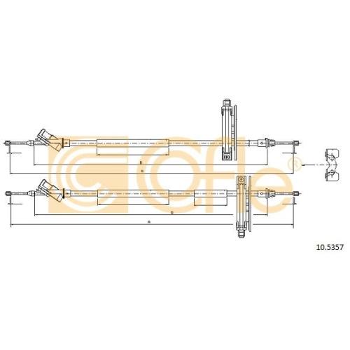 Cablu frana mana Ford Focus 1 (Daw, Dbw) Cofle 105357, parte montare : spate