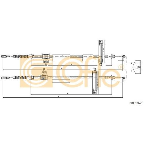 Cablu frana mana Ford Focus 1 (Daw, Dbw), Focus C-Max, Focus 3 Limuzina Cofle 105362, parte montare : spate