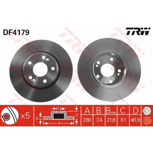 Disc frana Trw DF4179, parte montare : punte fata