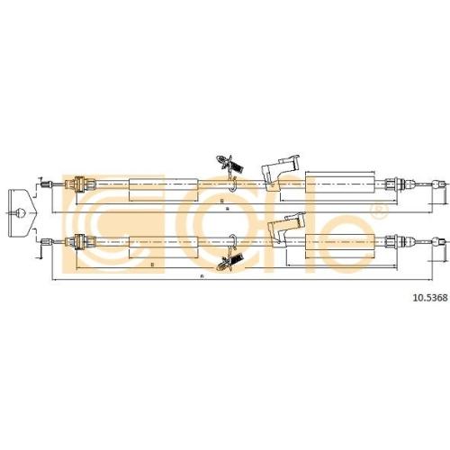 Cablu frana mana Ford Focus C-Max, Focus 2 (Da) Cofle 105368, parte montare : spate