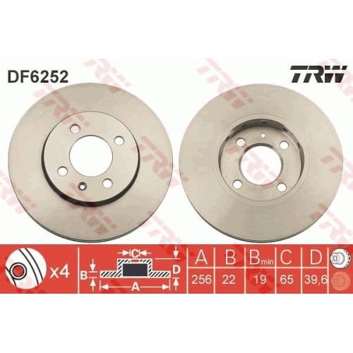 Disc frana Trw DF6252, parte montare : punte fata