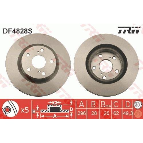 Disc frana Trw DF4828S, parte montare : Punte fata