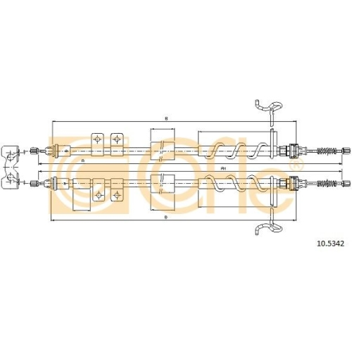 Cablu frana mana Ford Tourneo Connect, Transit Connect (P65, P70, P80); Jaguar Xj, Xk Cofle 105342, parte montare : spate