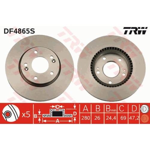 Disc frana Trw DF4865S, parte montare : Punte fata