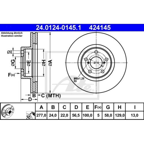 Disc frana Ate 24012401451, parte montare : punte fata