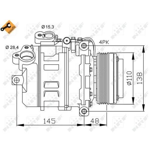 Compresor climatizare Bmw Seria 3 (E46), Seria 5 (E39), 7 (E38), X3 (E83), X5 (E53) Nrf 32465