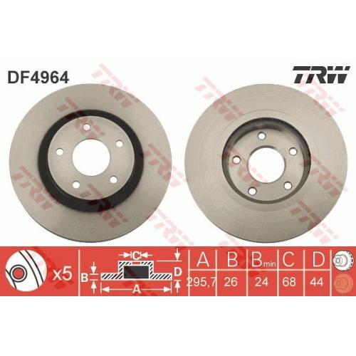 Disc frana Trw DF4964, parte montare : Punte fata