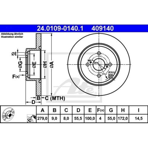 Disc frana Ate 24010901401, parte montare : punte spate