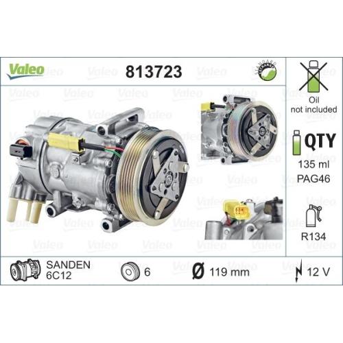 Compresor climatizare Citroen Berlingo (B9), C3 Ii, C3 Picasso, C4 1 (Lc), C5 3 (Rd), Ds3; Peugeot 207 (Wa, Wc), 307 (3a/C), 308 (4a, 4c), 508, Partner Tepee Valeo 813723