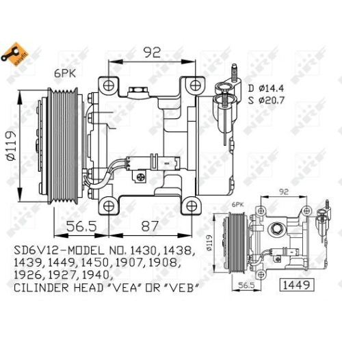 Compresor climatizare Citroen Berlingo (Mf), C2 (Jm), C3 1 (Fc), C3 Pluriel (Hb), Nemo (Aa), Xsara (N1/ N2); Peugeot 1007 (Km), 106 2 (1), 206 (2a/C)/ 206+ (T3e), 306 (7a 7b), 307 (3a/C), Bipper (Aa), Partner (5f) Nrf 32227