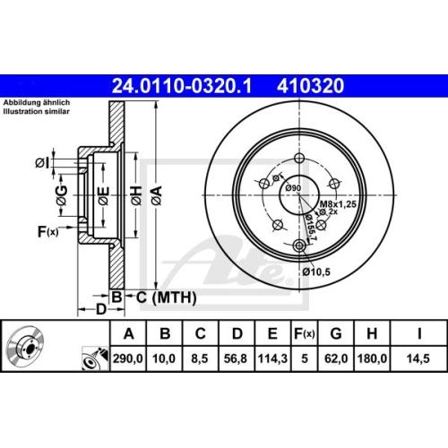 Disc frana Ate 24011003201, parte montare : punte spate