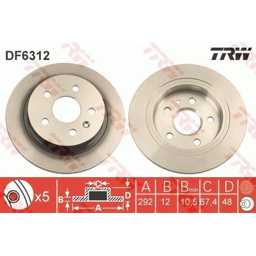 Disc frana Trw DF6312, parte montare : Punte spate