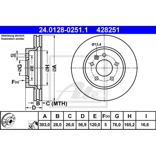 Disc frana Ate 24012802511, parte montare : punte fata