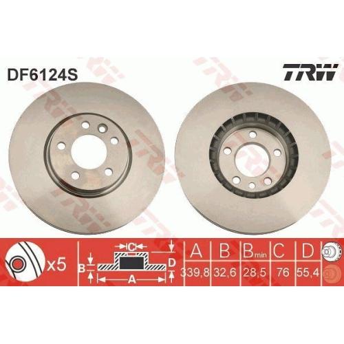 Disc frana Trw DF6124S, parte montare : punte fata