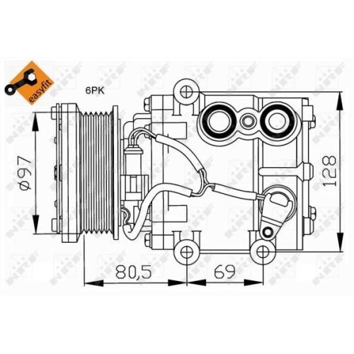 Compresor climatizare Ford Cougar (Ec), Fiesta 4 (Ja, Jb), Fiesta 5 (Jh, Jd), Fiesta Caroserie (Jv), Fusion (Ju), Ka (Rb), Mondeo 2 (Bap), Street Ka (Rl2) Nrf 32401