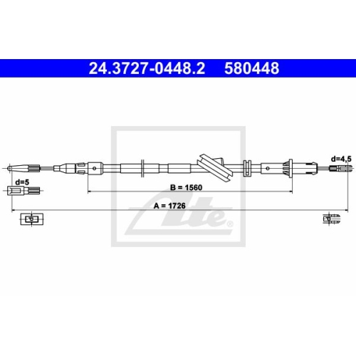 Cablu frana mana Mercedes-Benz Cls (C219), E-Class (W211) Ate 24372704482, parte montare : dreapta, spate