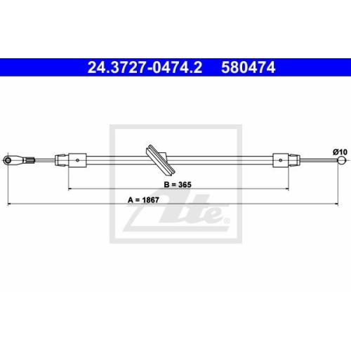 Cablu frana mana Mercedes-Benz Sprinter (906) Ate 24372704742, parte montare : fata