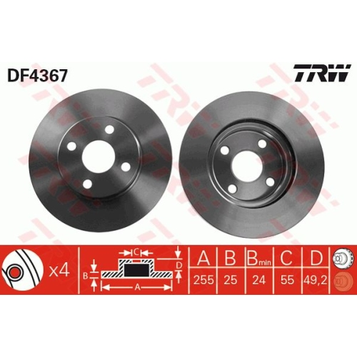 Disc frana Trw DF4367, parte montare : Punte fata