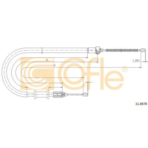 Cablu frana mana Nissan Kubistar (X76); Renault Kangoo (Kc0/1) Cofle 116678, parte montare : dreapta, spate