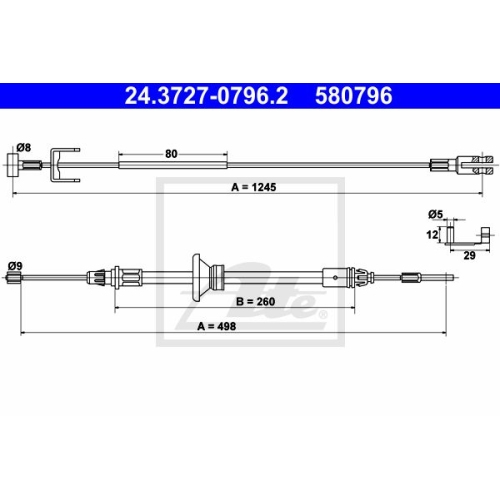 Cablu frana mana Nissan Primastar (X83); Opel Vivaro (J7); Renault Trafic 2 (Jl) Ate 24372707962, parte montare : central, fata