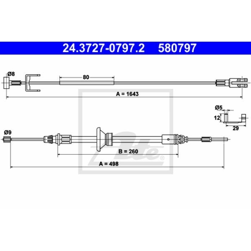 Cablu frana mana Nissan Primastar (X83); Opel Vivaro (J7); Renault Trafic 2 (Jl) Ate 24372707972, parte montare : central, fata