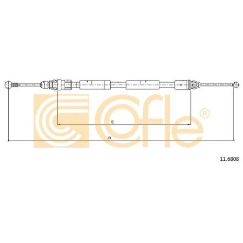 Cablu frana mana Nissan Primastar (X83); Opel Vivaro (J7); Renault Trafic 2 (Jl) Cofle 116808, parte montare : dreapta, spate