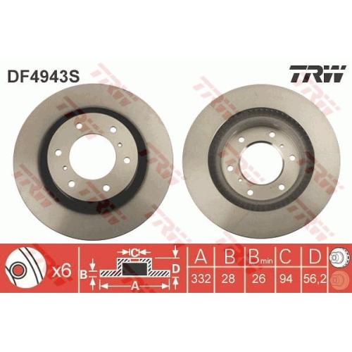 Disc frana Trw DF4943S, parte montare : Punte fata