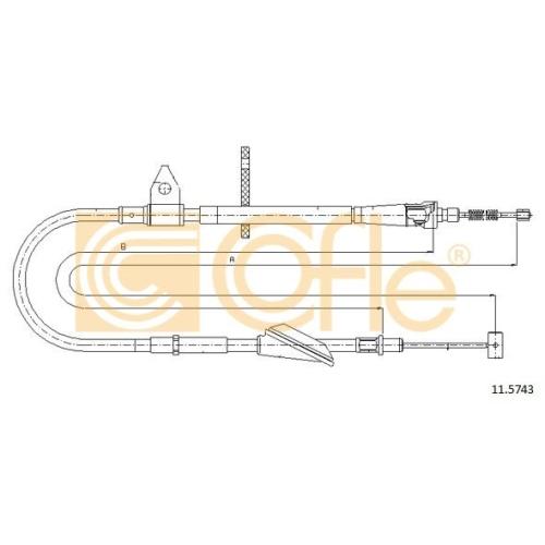Cablu frana mana Opel Agila (A) (H00); Suzuki Wagon R+ (Mm) Cofle 115743, parte montare : dreapta, spate