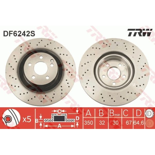 Disc frana Trw DF6242S, parte montare : Punte fata