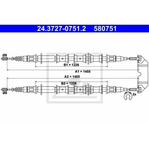 Cablu frana mana Opel Vectra B Ate 24372707512, parte montare : central