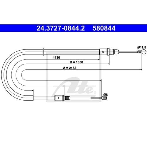 Cablu frana mana Peugeot 407 (6d) Ate 24372708442, parte montare : spate