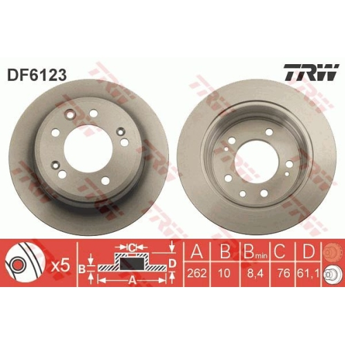 Disc frana Trw DF6123, parte montare : Punte spate
