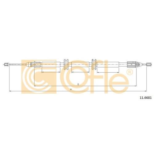Cablu frana mana Renault Kangoo (Kc0/1) Cofle 116681, parte montare : dreapta, spate