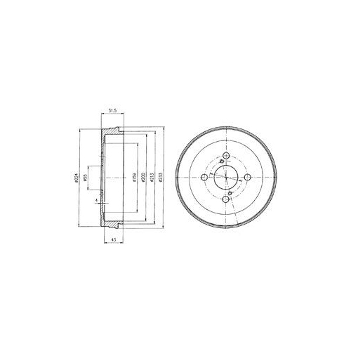 Tambur frana Delphi BF411, parte montare : Punte Spate