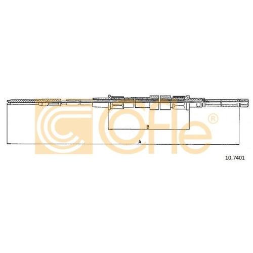 Cablu frana mana Seat Toledo 1 (1l); Vw Golf 2 (19e, 1g1), Jetta 2 (19e, 1g2, 165) Cofle 107401, parte montare : stanga, dreapta, spate