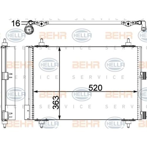 Condensator climatizare, Radiator clima Citroen Berlingo (Mf), Xsara Picasso (N68); Peugeot Partner (5f) Hella 8FC351303374