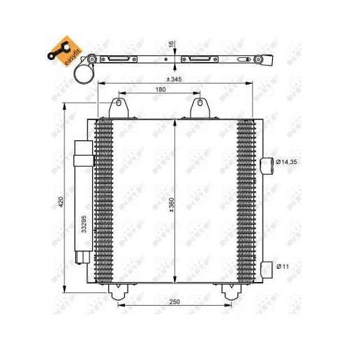 Condensator climatizare, Radiator clima Citroen C1 (Pm, Pn); Peugeot 107; Toyota Aygo (Wnb1, Kgb1) Nrf 35778