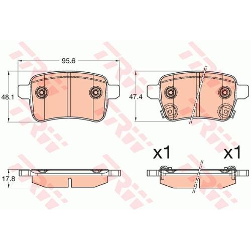 Set placute frana Trw GDB2032, parte montare : punte spate