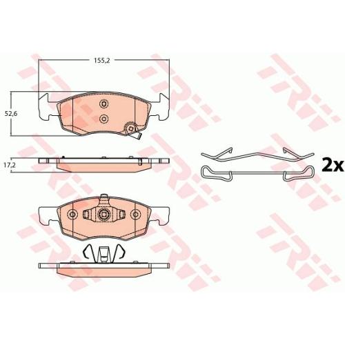 Set placute frana Trw GDB2099, parte montare : punte fata