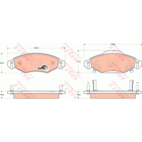Set placute frana Trw GDB3324, parte montare : punte fata