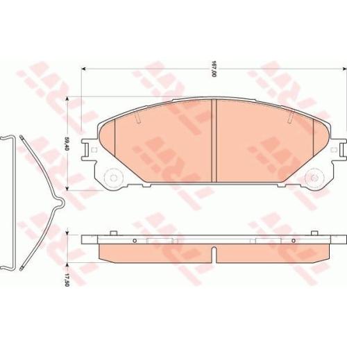 Set placute frana Trw GDB3484, parte montare : punte fata